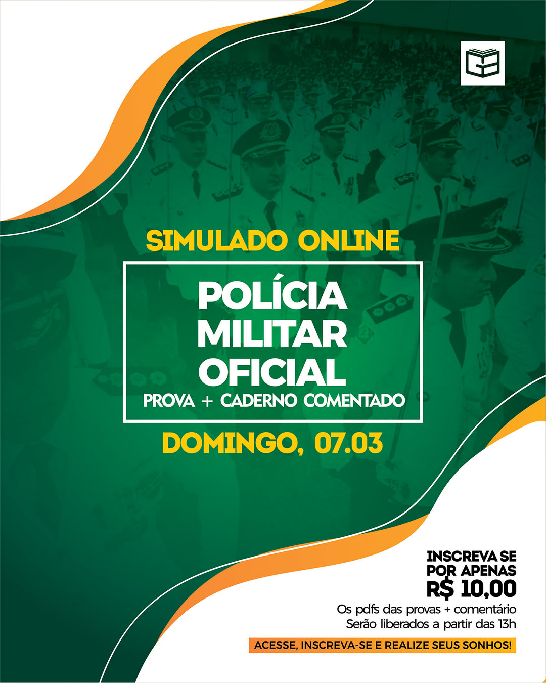 1° SIMULADO ONLINE POLÍCIA MILITAR - OFICIAL (2021) - EM PDF